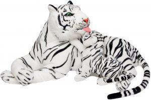 Peluche de tigre blanco gigante con cría de Brubaker de 1 m - Los mejores peluches de tigres - Peluches de animales