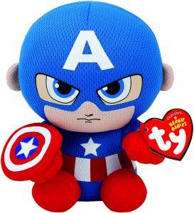 Peluche de Capitán América de 18 cm de Ty - Los mejores peluches del Capitán América - Peluches de superhéroes de Marvel