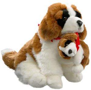 Peluche de San Bernardo con cría de Carl Dick de 30 cm - Los mejores peluches de san bernardos - Peluches de perros