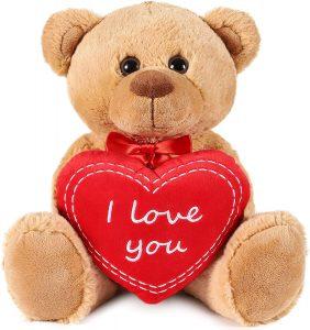 Peluche de Oso I Love You de Brubaker de 35 cm - Los mejores peluches de osos - Peluches de animales - Osos de peluche