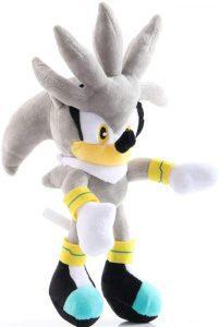 Peluche de Silver The Hedgehog de 26 cm de SEGA - Los mejores peluches de Sonic - Peluches de personajes del erizo Sonic