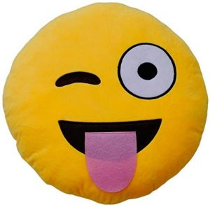 Peluche de emoticono de lengua y guiño de 30 cm - Los mejores peluches de emojis - emoticonos - Peluches de emojis